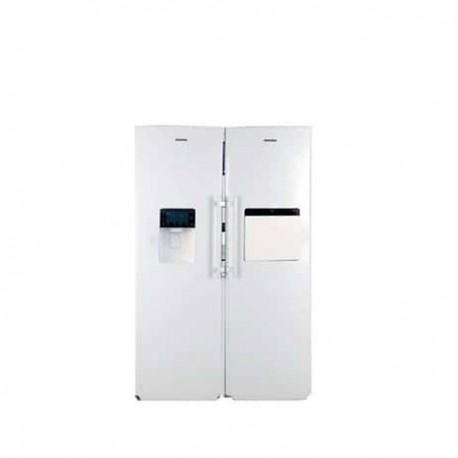 یخچال و فریزر دوقلو الکترواستیل ES23 بایخساز طرح چرمی سفید